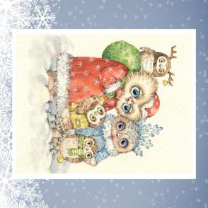 Russian Christmas Owls panel