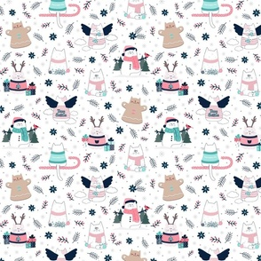 Christmas Cats Blue & Pink   Small scale