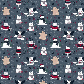 Christmas Cats on Blue   Small scale