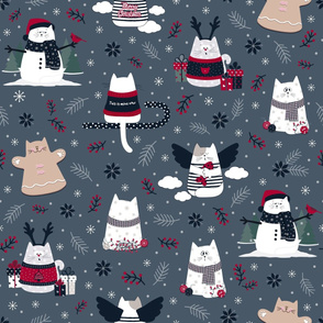 Christmas Cats on Blue