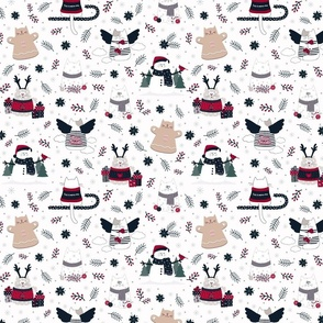 Christmas Cats on White | Small scale