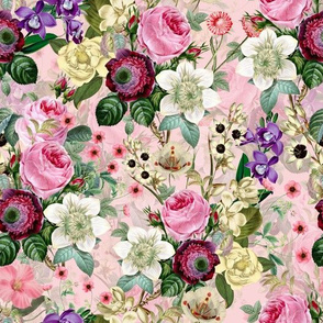 "10""  Pierre-Joseph Redouté Roses,Vintage Flower Garden Hand drawn Watercolor Pattern, Pink"