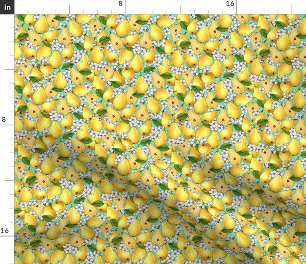 Telas Por Metros Dibujo Las Flores Frutas Modelo Peras Sin Costura