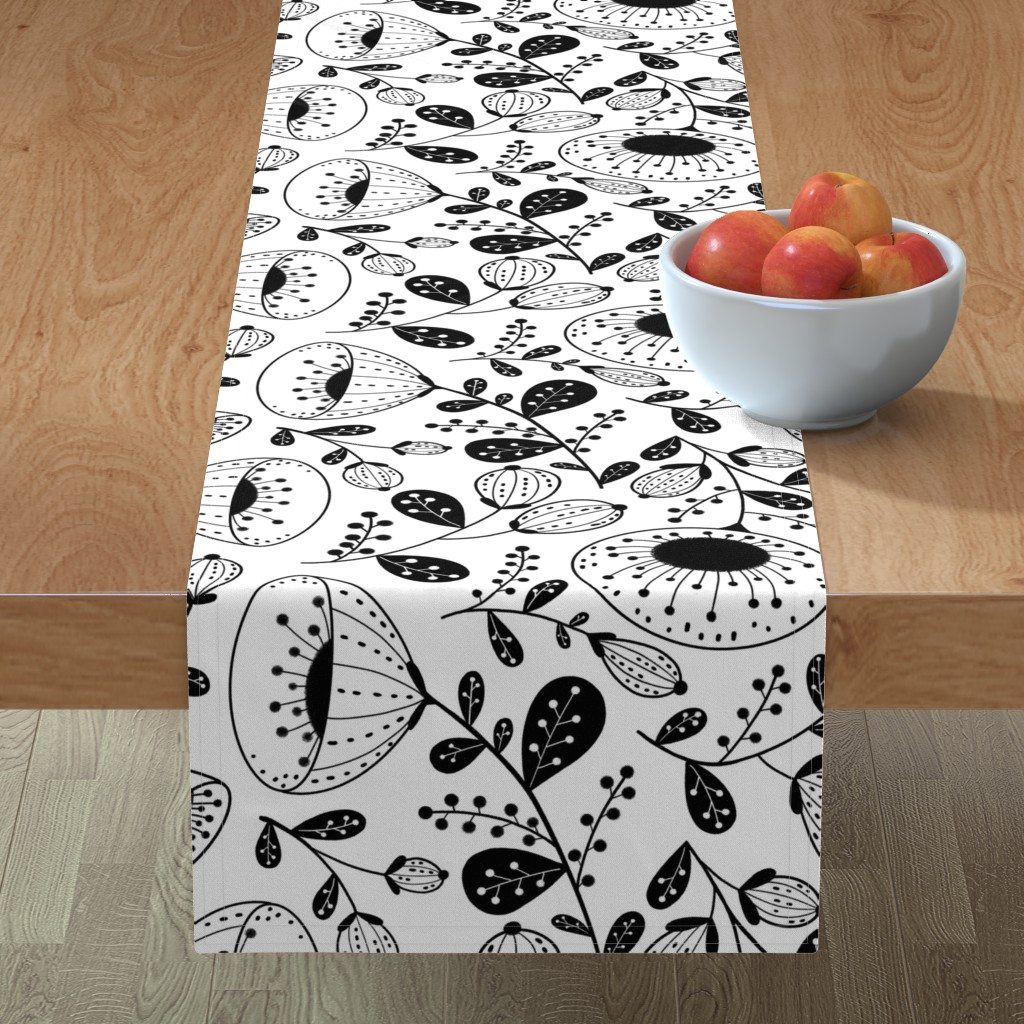 Minorca Table Runner featuring black on white floral large scale by gnoppoletta