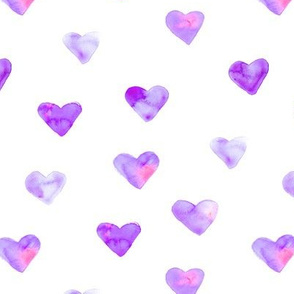 Orchid violet hearts || watercolor valentine's pattern