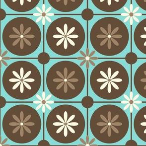 MidCentury Geometric Flower Circles in Turquoise, Brown, Cream