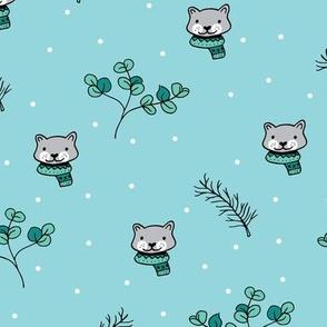 Christmas cats scrafs and winter kitten holiday design gender neutral blue