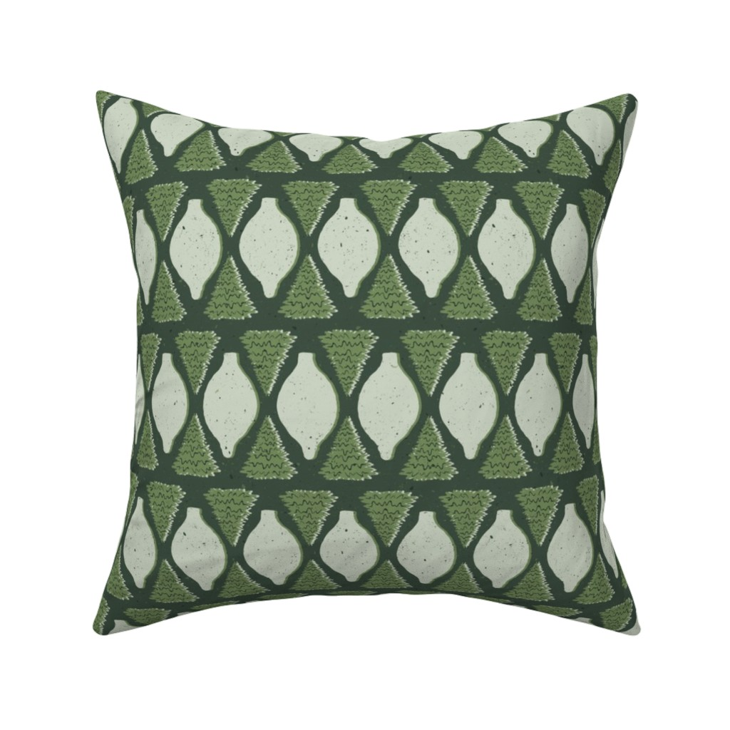 Catalan Throw Pillow featuring Woodland Christmas Tree Geometric Ogee Print in Forest Green + Celery // Stamped Ornament shapes + Hand Drawn Christmas Trees // Tribal Holiday Print by zirkus_design