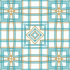 Retro sixties scarf design in blue and orange