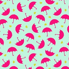 Umbrella love dancing in the rain Scandinavian mint raspberry pink