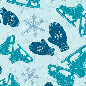 Vintage Ice Skates + Warm Woolen Mittens in Turquoise, Indigo, + Ice Blue // Textured Ice Pond Background + Hand Drawn Snowflakes // Vintage Christmas