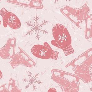 Vintage Ice Skates + Warm Woolen Mittens in Blush + Bubble Gum Pink // Textured Ice Pond Background + Hand Drawn Snowflakes // Vintage Christmas