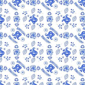 Blue scandi flowers delicate