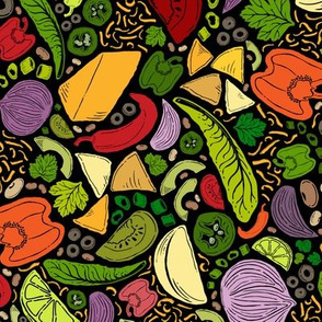 'Tis the Season for Tacos! Tea Towel Design // Mexican Food Ingredients + Colorful Garden Veggies