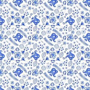 Blue scandi flowers tile busy