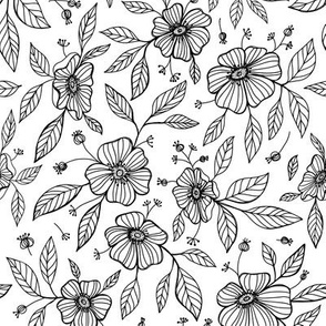 flowers and leaves. black and white line hand drawn