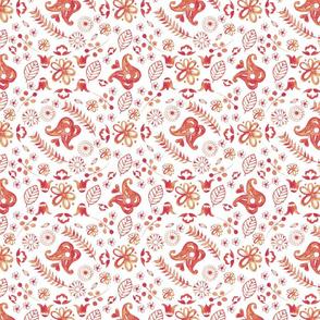 red stamp scandi flowers tile