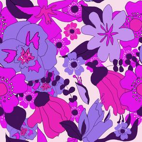 Retro NZ floral pink purple