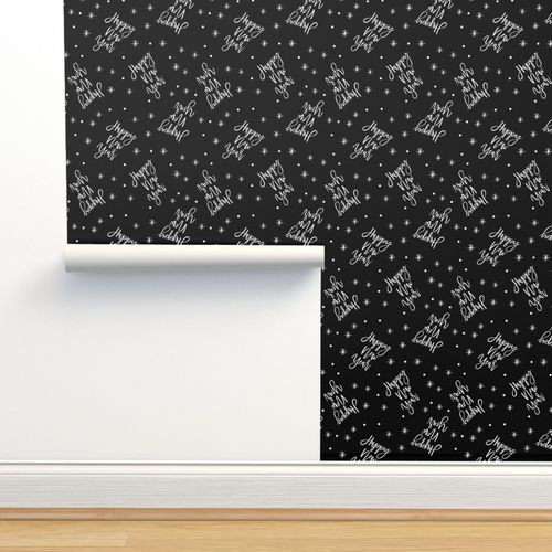 Wallpaper Happy New Year - Script Black