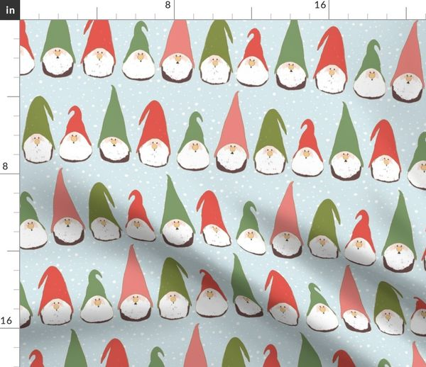 Christmas Gnomes.Fabric By The Yard Christmas Gnomes Red And Green On Light Blue