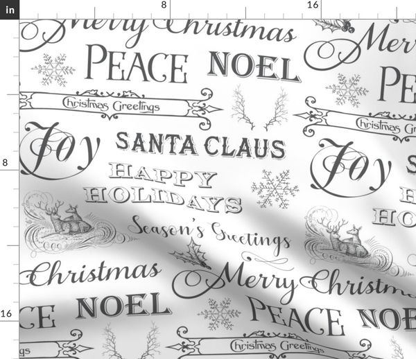 Christmas Sayings.Fabric By The Yard Christmas Typography Christmas Greetings Christmas Sayings In White
