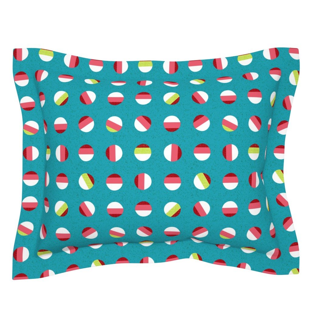 Sebright Pillow Sham featuring striped dots-holiday Christmas by ottomanbrim