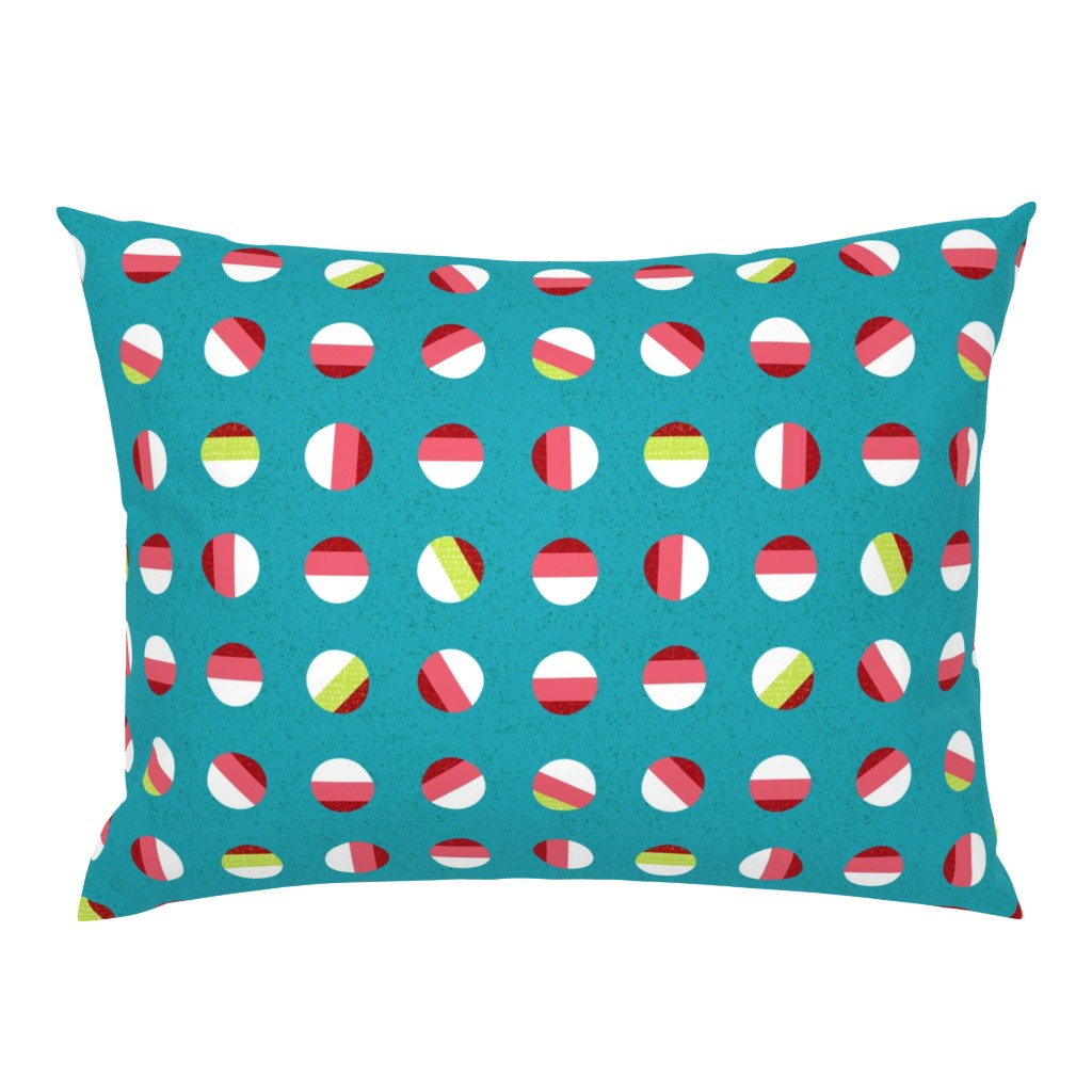 Campine Pillow Sham featuring striped dots-holiday Christmas by ottomanbrim