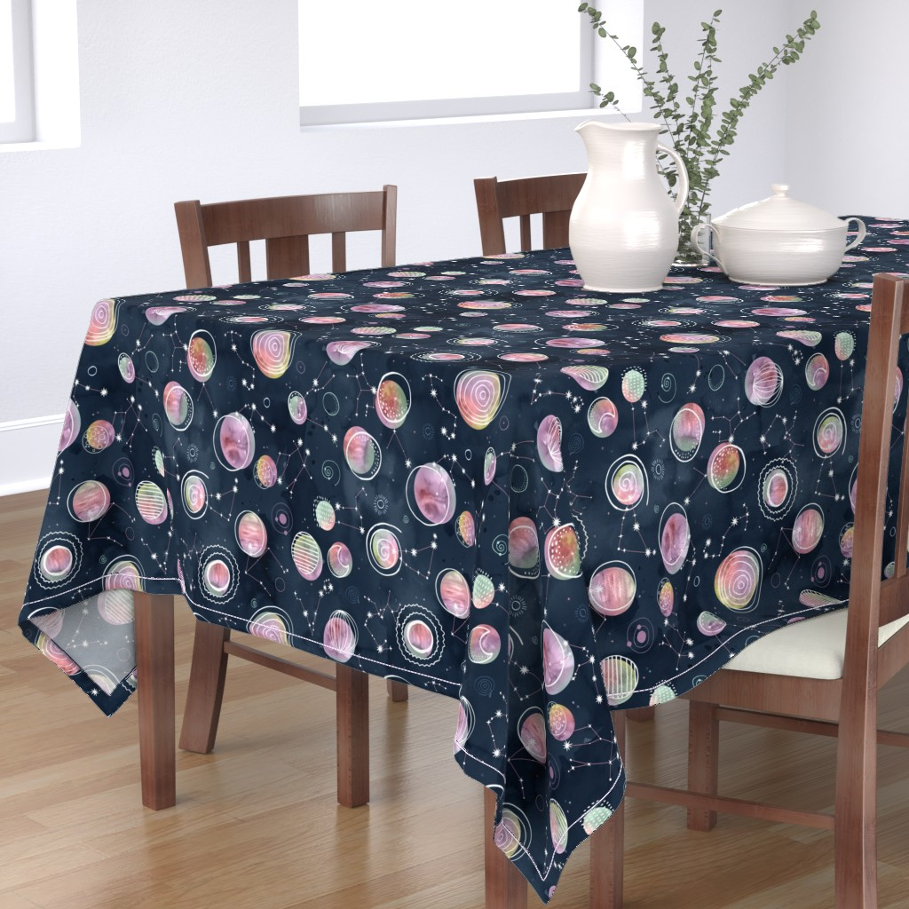 Bantam Rectangular Tablecloth featuring Cosmic Harmony - Watercolor Planets and Constellations by marketa_stengl