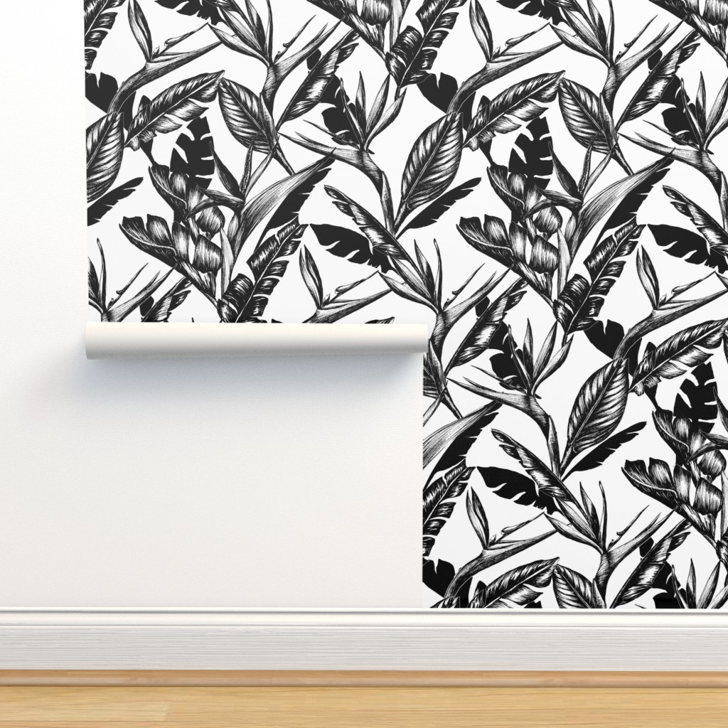 Isobar Durable Wallpaper featuring Black and White Paradise by gingerlique