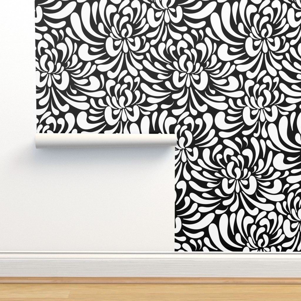 Isobar Durable Wallpaper featuring large abstract flowers by vivdesign
