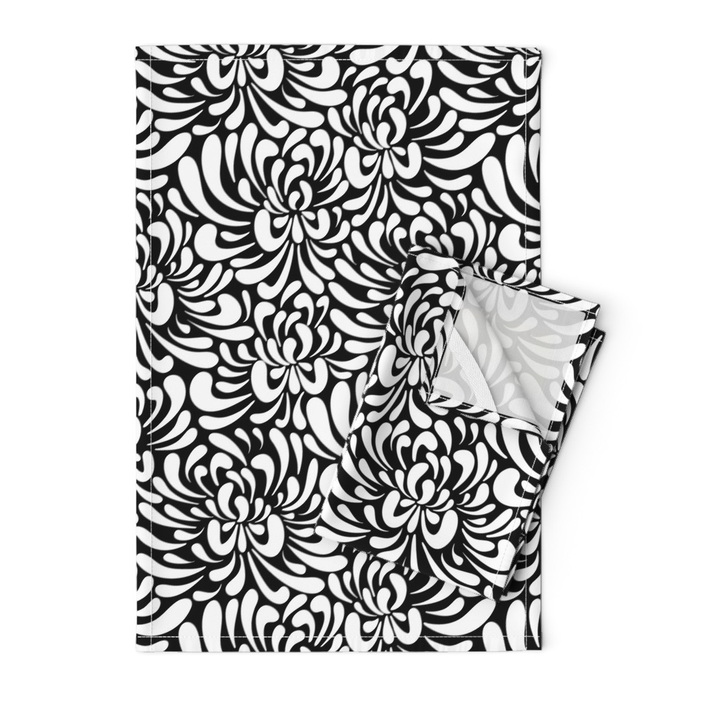 Orpington Tea Towels featuring large abstract flowers by vivdesign