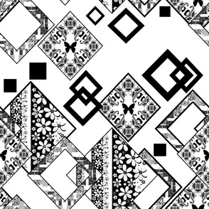 Black and white ornamental abstract patchwork