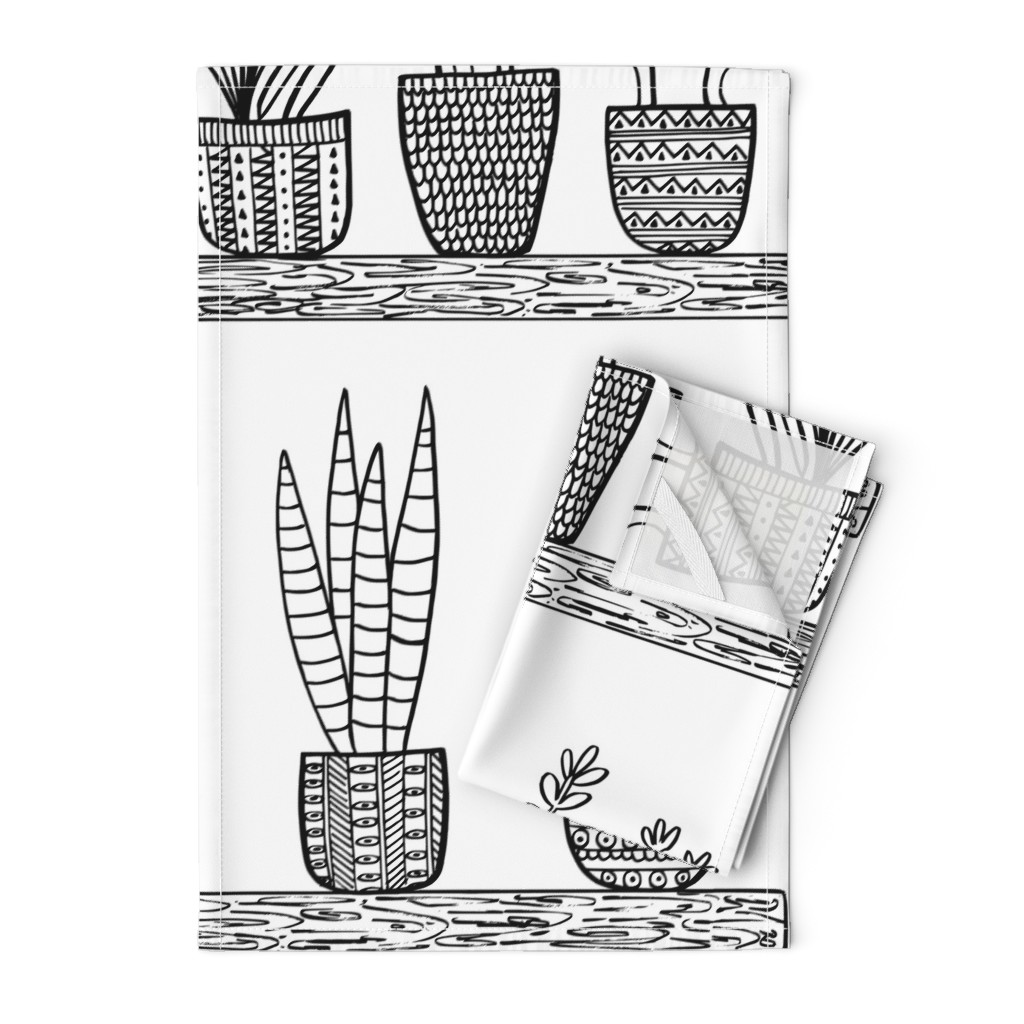 Orpington Tea Towels featuring Pattern #101 - Prickly cacti and succulents  by irenesilvino