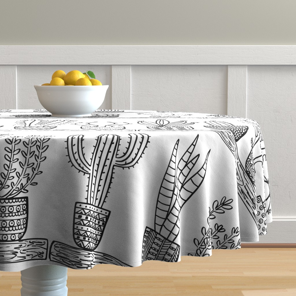 Malay Round Tablecloth featuring Pattern #101 - Prickly cacti and succulents  by irenesilvino