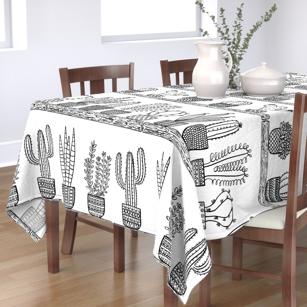 Bantam Rectangular Tablecloth featuring Pattern #101 - Prickly cacti and succulents  by irenesilvino