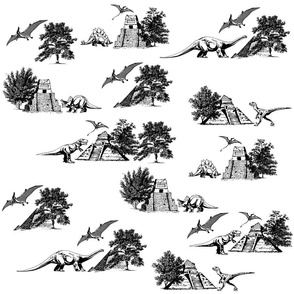 Dinosaur French Toile Fabric Pattern