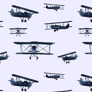 Retro air planes in blue-grey || watercolor for baby boys