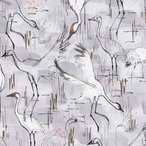 Whopping Cranes Gray - © Lucinda Wei