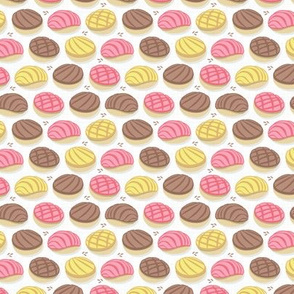 Tiny scale // Mexican conchas // white background pink yellow & brown shells