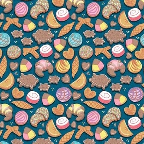 Tiny scale // Mexican Sweet Bakery Frenzy // turquoise background // pastel colors pan dulce