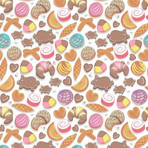 Tiny scale // Mexican Sweet Bakery Frenzy // white background // pastel colors pan dulce