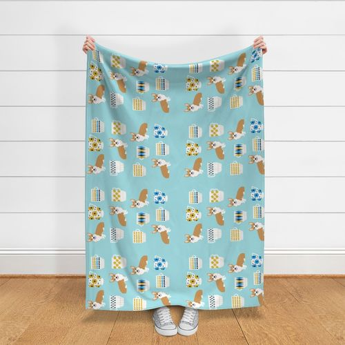 Fabric by the Yard Corgi Teacup Tea Towel Fabric - vintage corgi design,  kitchen tea towel, dish towel, corgis and tea, dogs and tea illustration,  pet ...