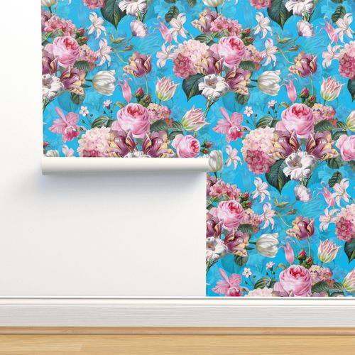 Victorian Curtain Panel Chinoiserie Blue Roses by utart Rose Custom Curtain Panel by Spoonflower