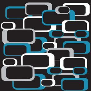 Blue Gray White Retro Squares Pattern