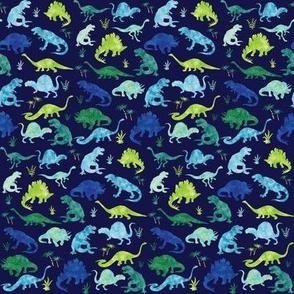 Watercolor Dinosaur Silhouette Blue - Small