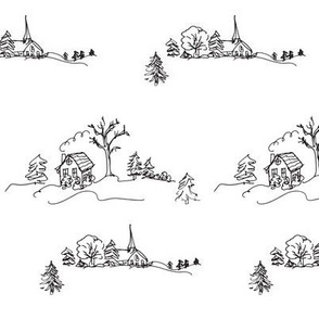 Snowy Farmhouse Landscape, Black and White Drawing
