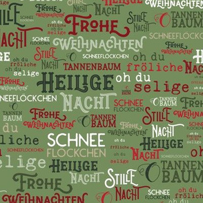 Traditional German Christmas Carols Texture Print in Green, Red, &White // Frohe Weihnachten // O Tannenbaum // auf Deutsch