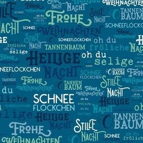Traditional German Christmas Carols Texture Print in Blue, Turquoise, & Mint Green // Frohe Weihnachten // O Tannenbaum // auf Deutsch