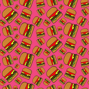 Dancing with Cheese Burgers and Chips in fuchsia pink