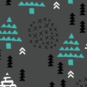 Christmas woodland trees stars and mistletoe branch hand drawn nature illustration seasonal scandinavian garden winter forest charcoal blue XL